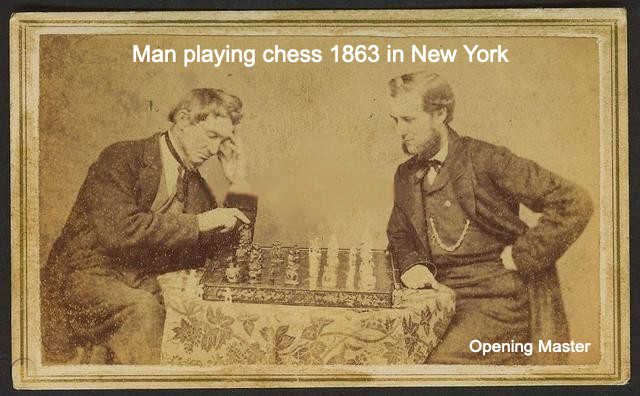 man playing chess 1863 by Opening Master